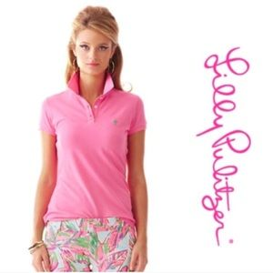 Lilly Pulitzer Pink Stretchy Short Sleeve Polo S